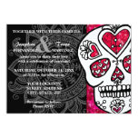 "Day of the Dead Sugar Skull LGBT Wedding Glitter 5"" X 7"" Invitation Card"