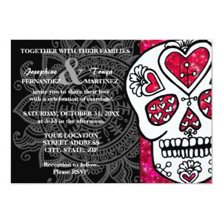 Day of the Dead Sugar Skull LGBT Wedding Glitter Card