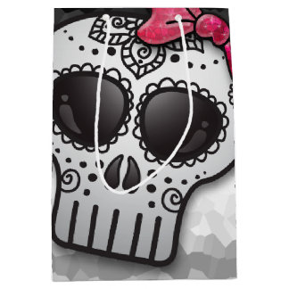 Day of the Dead Sugar Skull Ombre Hot Pink Glitter Medium Gift Bag