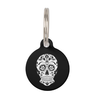 DAY OF THE DEAD SUGAR SKULL PET ID TAG