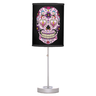 Day of the Dead Sugar Skull Pink Desk Lamp