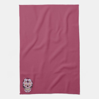 Day of the Dead Sugar Skull Pink Kitchen Towel