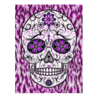Day of the Dead Sugar Skull - Pink & Purple 1.0 Postcard