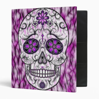 Day of the Dead Sugar Skull - Pink & Purple 1.0 Vinyl Binder