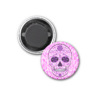 Day of the Dead Sugar Skull - Pink & Purple 1 Inch Round Magnet