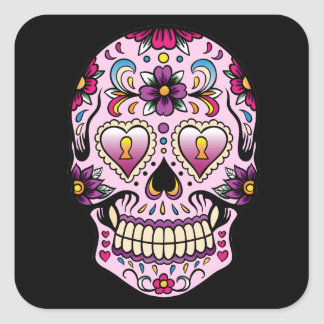 Day of the Dead Sugar Skull Pink Sticker