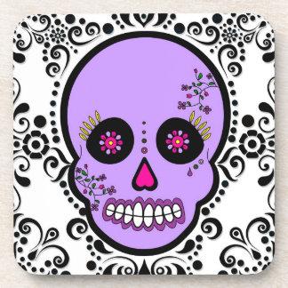Day of the Dead Sugar Skull - Purp / White / Black Beverage Coaster