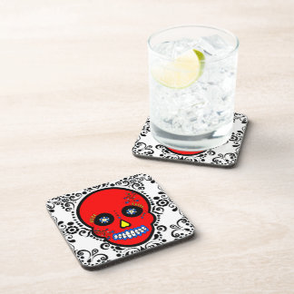 Day of the Dead Sugar Skull - Red / White / Black Beverage Coasters
