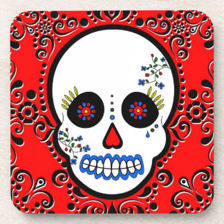 Day of the Dead Sugar Skull - Red/ White / Black Coasters