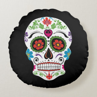 DAY OF THE DEAD SUGAR SKULL ROUND PILLOW