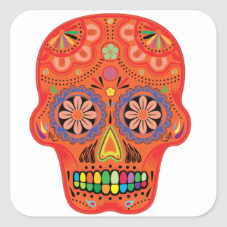 Day of the dead sugar skull square sticker