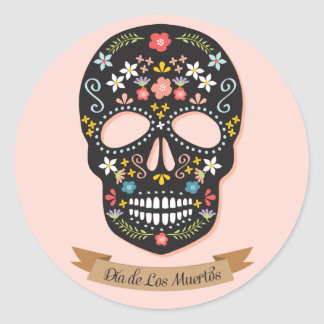 Day of the Dead Sugar Skull stickers, black-pink Classic Round Sticker