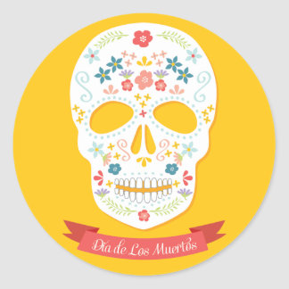 Day of the Dead Sugar Skull stickers, yellow Classic Round Sticker