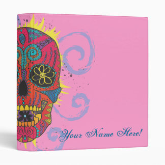Day of The Dead Sugar Skull Tattoo Design 3 Ring Binder