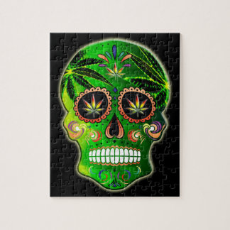 Day of the Dead Sugar Skull weed Shirt Jigsaw Puzzle