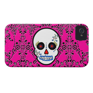 Day of the Dead Sugar Skull - White and Pink iPhone 4 Covers
