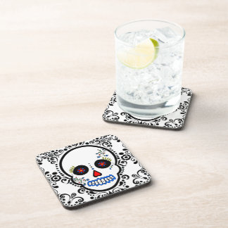 Day of the Dead Sugar Skull - White / Black Drink Coasters