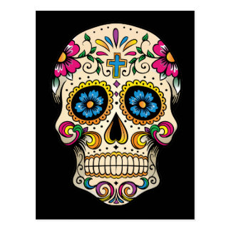 Day of the Dead Sugar Skull with Cross Postcard