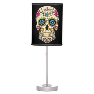 Day of the Dead Sugar Skull with Cross Table Lamp