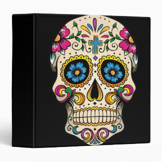 Day of the Dead Sugar Skull with Cross Vinyl Binder