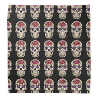 Day of the Dead Sugar Skull with Rose Bandana