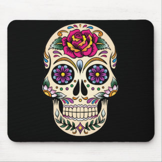 Day of the Dead Sugar Skull with Rose Mouse Pad
