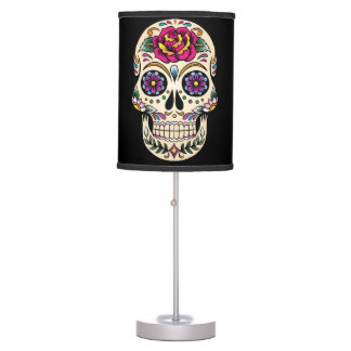 Day of the Dead Sugar Skull with Rose Table Lamp