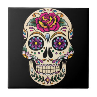 Day of the Dead Sugar Skull with Rose Tile