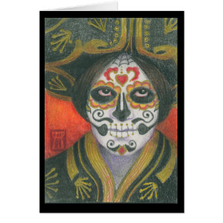 Day of the Dead Sugar Skull with Sombrero Card