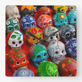 Day of the Dead Sugar Skulls Square Wall Clock