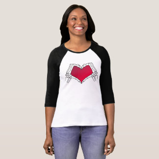 Day of the Dead T-shirt Black Raglan and Red Neon