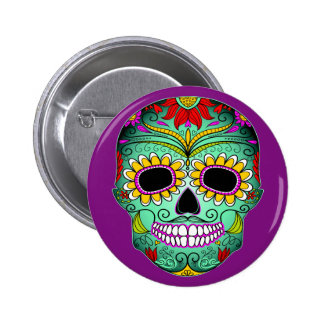 Day Of The Dead Tattoo Skull 2 Inch Round Button