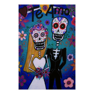 Day of the Dead Te Amo Wedding Couple Poster
