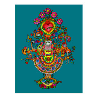 Day of the Dead Tree Art Postcard