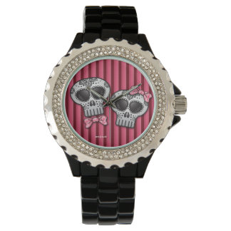 Day of the Dead Valentine Skull Dia de los Muertos Watch