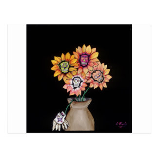 day of the dead vase postcard