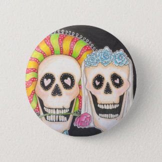 Day of the Dead Wedding Button