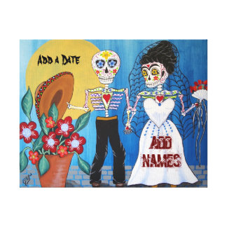 Day of the Dead Wedding Couple Canvas Print