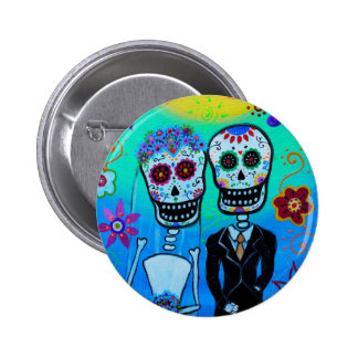 DAY OF THE DEAD WEDDING COUPLE SPECIAL 2 INCH ROUND BUTTON