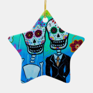 DAY OF THE DEAD WEDDING COUPLE SPECIAL CERAMIC STAR ORNAMENT