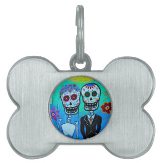 DAY OF THE DEAD WEDDING COUPLE SPECIAL PET ID TAG