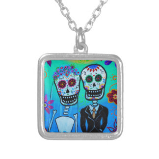 DAY OF THE DEAD WEDDING COUPLE SPECIAL SILVER PLATED NECKLACE