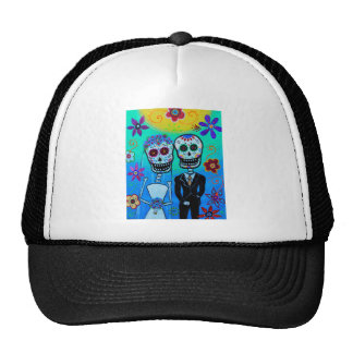 DAY OF THE DEAD WEDDING COUPLE SPECIAL TRUCKER HAT
