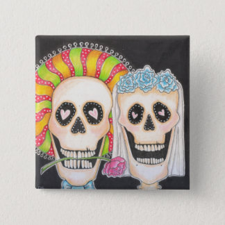 Day of the Dead Wedding Square Button