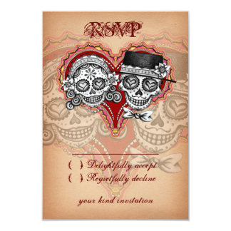 Day of the Dead Wedding Sugar Skull RSVP Cards