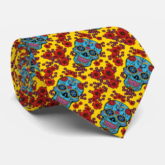 Day of the Dead with Flowers Tie