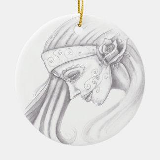 Day of the Dead women2 Round Ceramic Ornament
