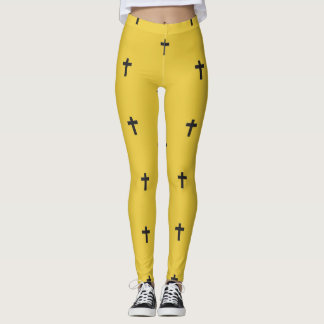 Day of the Dead Yellow Cross Leggings