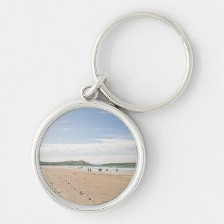 Day walk Silver-Colored round keychain