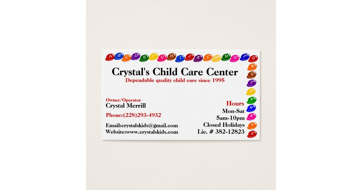 Daycare Childcare Babysitting Business Card | Zazzle.ca